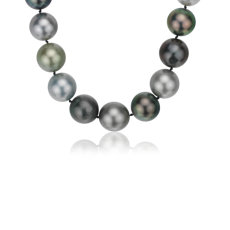 Multi-Colour Tahitian Cultured Pearl Strand Necklace with Diamond Clasp in 18k White Gold (14-15.9mm)