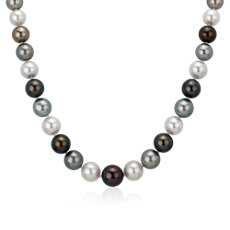 NEW 8-10mm Multi-Color Tahitian Pearl Strand Necklace with Diamond Clasp