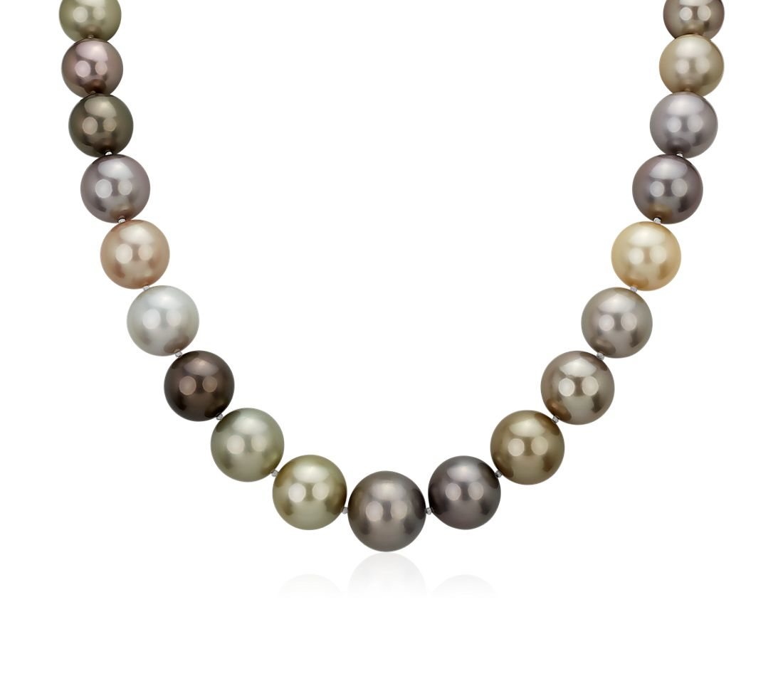 12-15mm Multi-Color Tahitian Pearl Strand Necklace with Diamond Clasp