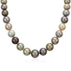NEW 12-15mm Multi-Color Tahitian Pearl Strand Necklace with Diamond Clasp
