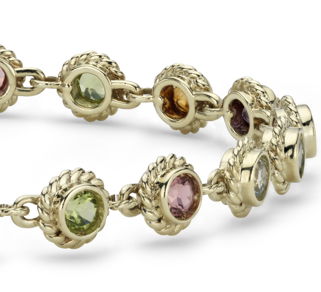 Multi-Gemstone Confetti Bracelet in 14k Yellow Gold (3.5mm)