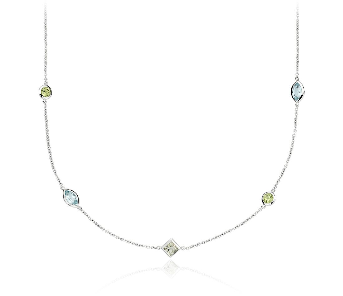 Multicolor Gemstone Confetti Necklace in 14k White Gold (5x3mm)