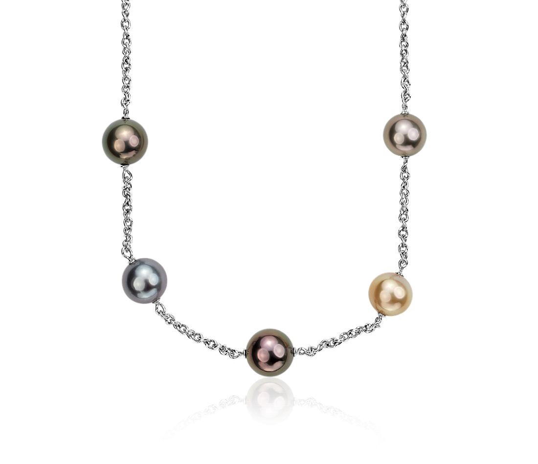 Multi-Colored Tahitian Pearl Necklace in 18k White Gold (11.5-12.5mm)