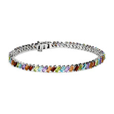 NEW Multi Gemstone Baguette Bracelet in Sterling Silver
