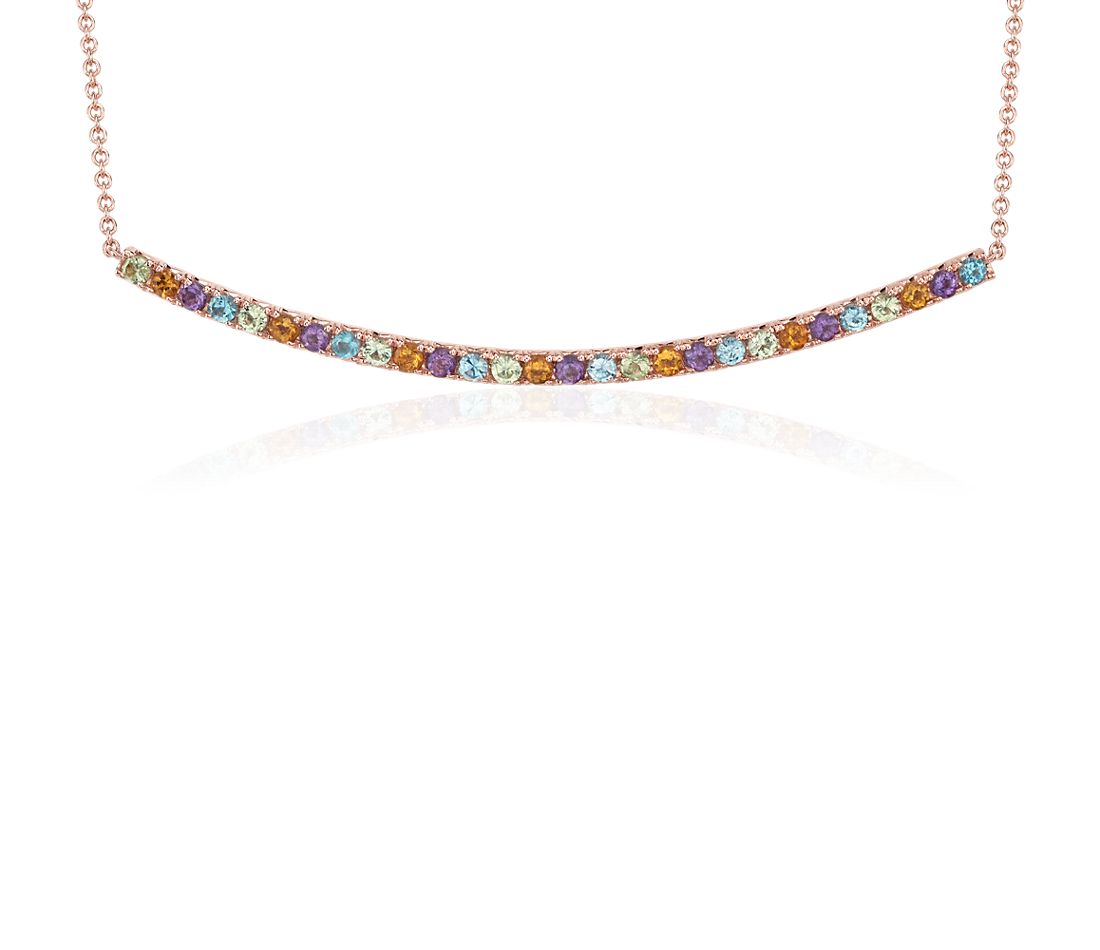 Multi-Gemstone Delicate Curved Bar Necklace in 14k Rose Gold (1.5mm)