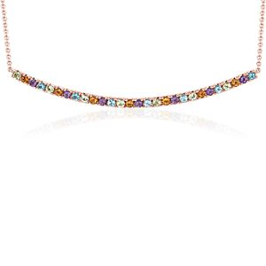 Multi-Gemstone Delicate Bar Necklace in 14k Rose Gold (1.5mm)