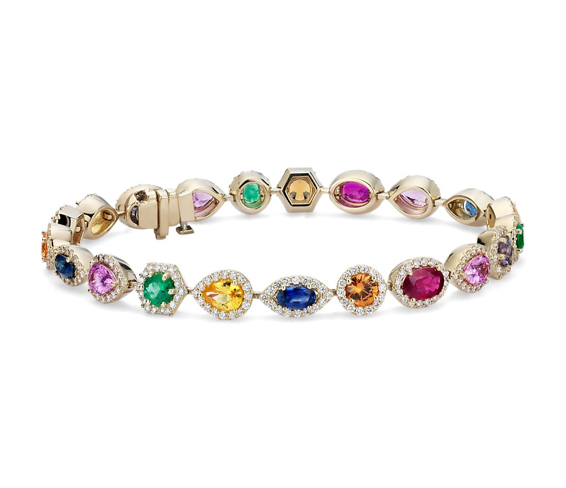 Bracelet diamants et pierres gemmes multicolores en or jaune 18 carats