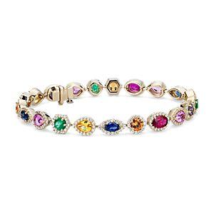 Brazalete de diamantes y gemas de varios colores en oro amarillo de 18k