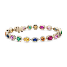 Multicolor Gemstone and Diamond Bracelet in 18k Yellow Gold