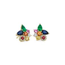 NEW Multi Gemstone Cluster Earring in 18k 黃金