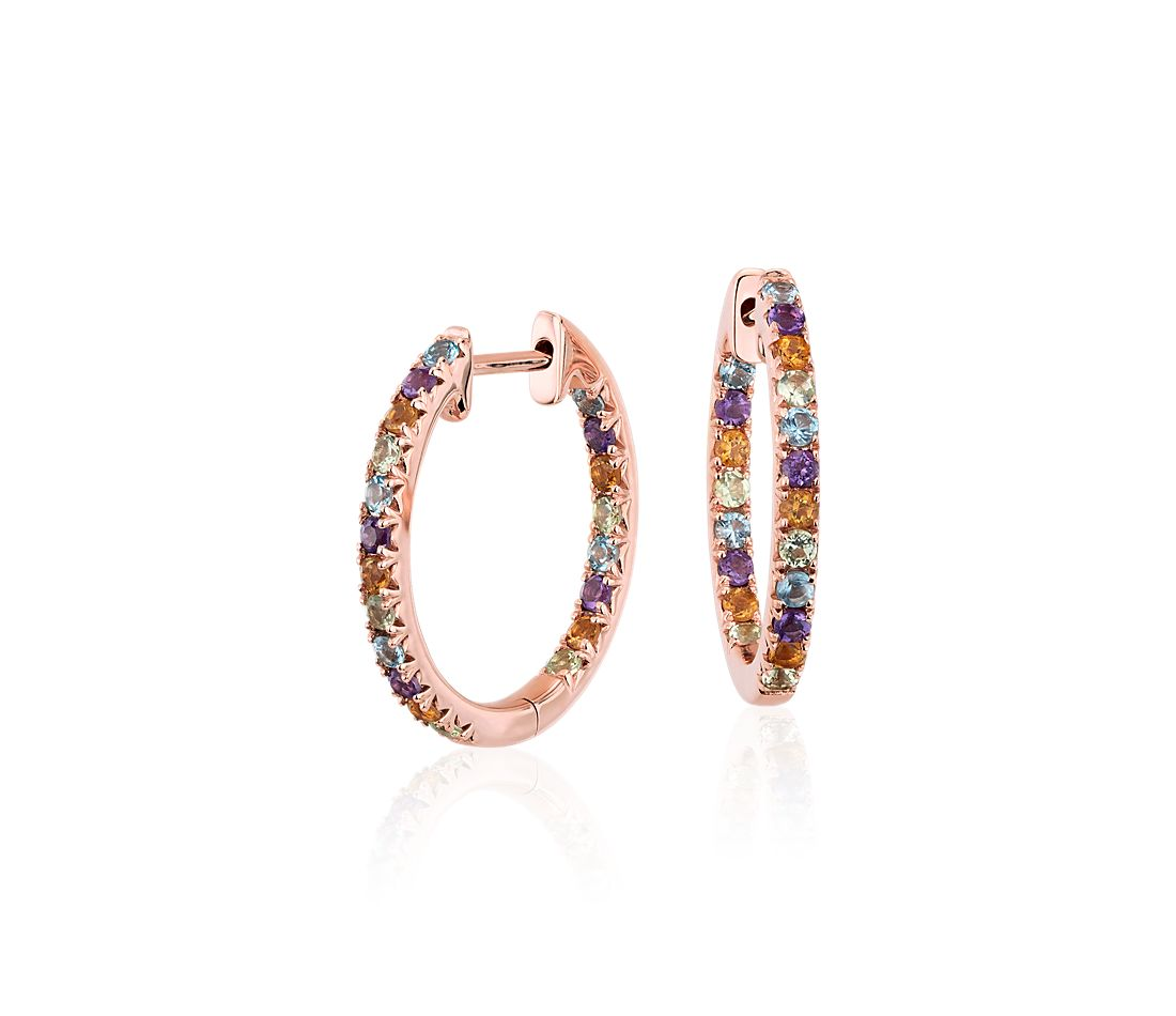 Multi-Gemstone Pavé Hoop Earrings in 14k Rose Gold