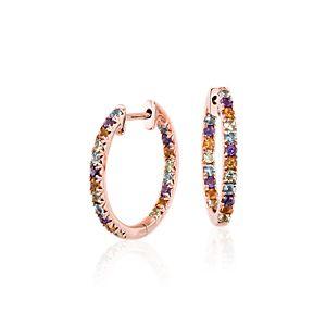 Aretes tipo argolla con pavé de varias gemas en oro rosado de 14k (1,5mm)