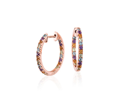 Multi-Gemstone Pavé Hoop Earrings in 14k Rose Gold (1.5mm)