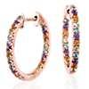 Multi-Gemstone Pavé Hoop Earrings in 14k Rose Gold (1.5mm)