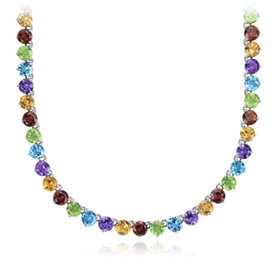Multi Gemstone Necklace in Sterling Silver