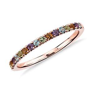 Bague sertie pavé de pierres gemmes multicolores en or rose 14carats (1,5mm)