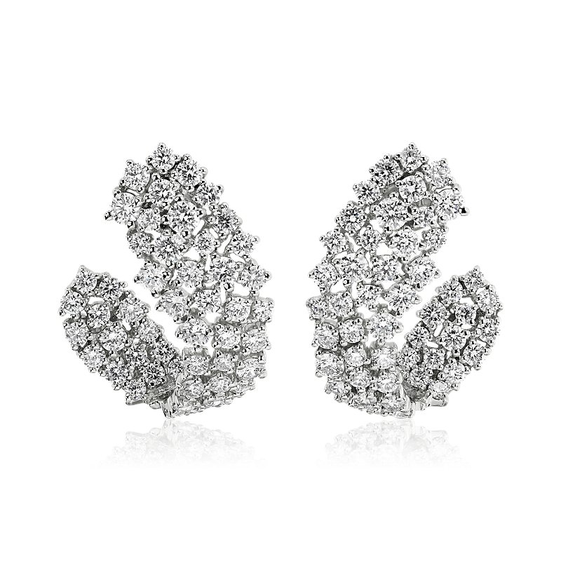 Multi-Row Diamond Wrap Hoop Earrings in 14k White Gold (2 7/8 ct.