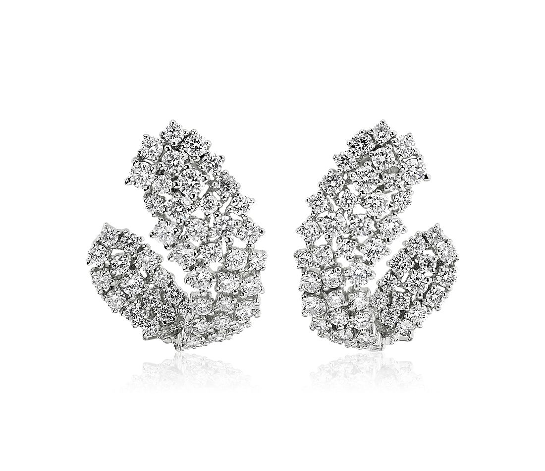 Multi-Row Diamond Wrap Hoop Earrings in 14k White Gold (2 7/8 ct. tw.)