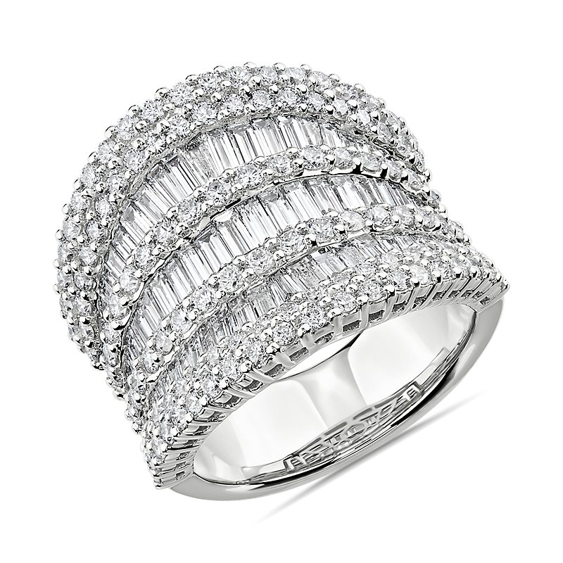 Multi-Row Graduated Diamond Baguette Ring in 14k White Gold (3 5/