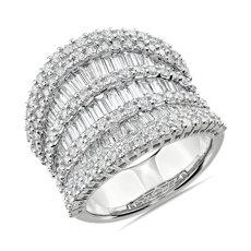 Bague rangs multiples avec diamants baguette gradués en or blanc 14carats (3,6carats, poids total)
