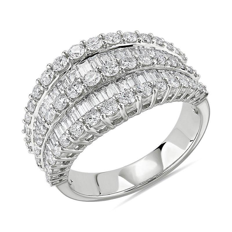 Multi-Row Graduated Diamond Baguette Ring in 14k White Gold (2 ct