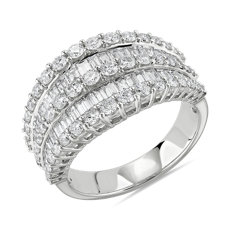 NEW Multi-Row Graduated Diamond Baguette Ring in 14k White Gold (2 ct. tw.)