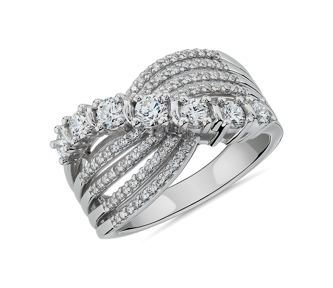 Multi-Row Graduated Diamond Ring in 14k White Gold (1 ct. tw.)