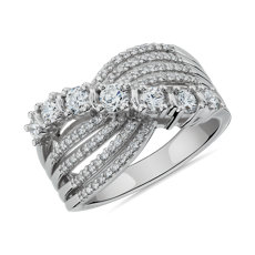 NEW Multi-Row Graduated Diamond Ring in 14k White Gold (1 ct. tw.)