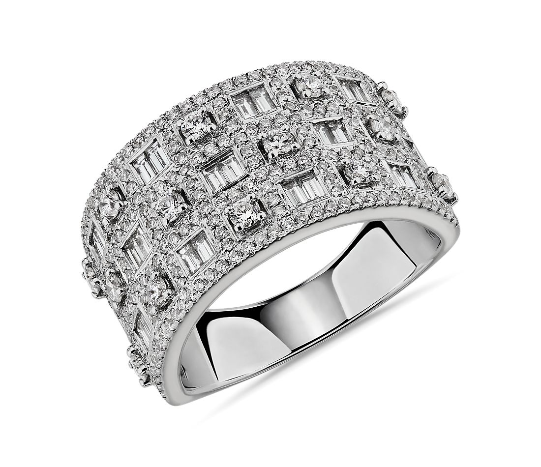 Multi-Row Round and Baguette Diamond Fashion Ring in 14k White Gold (1 1/5 ct. tw.)