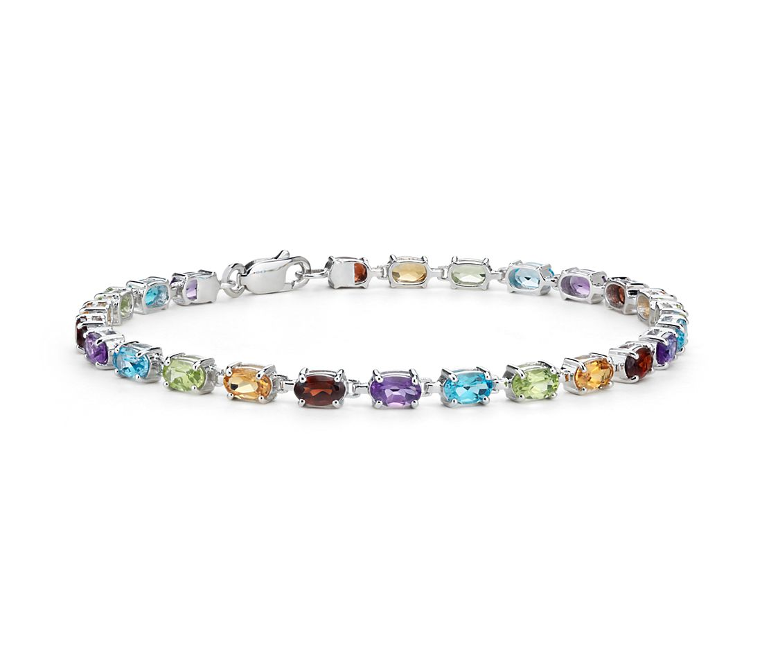 Pee Oval Multicolor Gemstone Bracelet In Sterling Silver 5x3mm