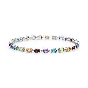 Bracelet fin en pierres gemmes ovales multicolores en argent sterling (5x3mm)