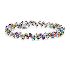 Two Row Multicolour Gemstone Bracelet in Sterling Silver (4x3mm)
