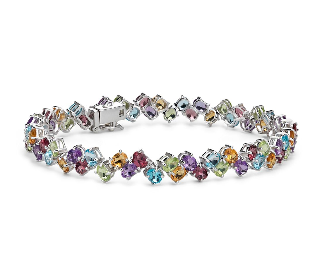 Two Row Multicolor Gemstone Bracelet In Sterling Silver 4x3mm