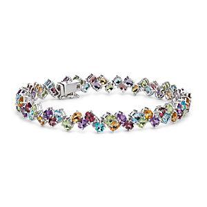 Brazalete de gemas de diversos colores en dos filas en plata de ley (4x3mm)