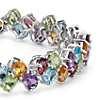 Two Row Multicolor Gemstone Bracelet in Sterling Silver (4x3mm)
