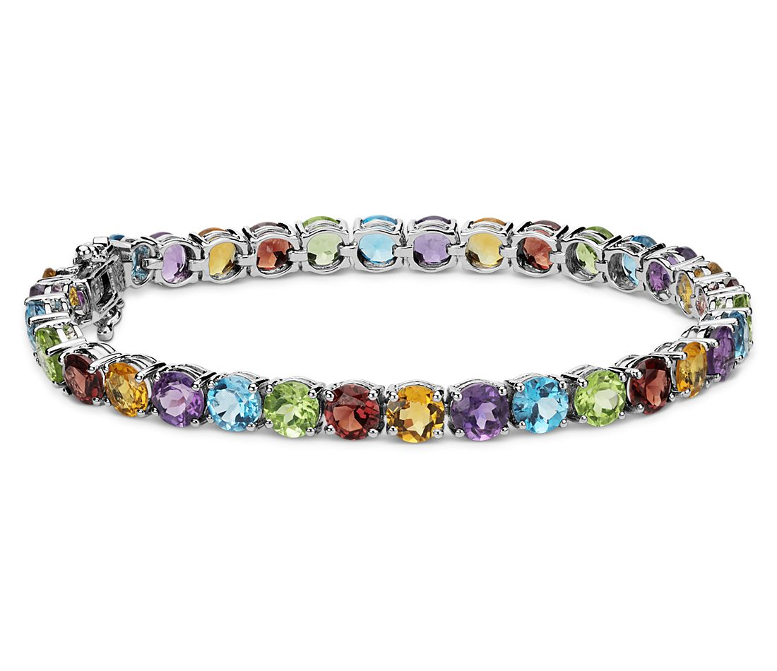 Multicolored Gemstone Bracelet In Sterling Silver 5mm