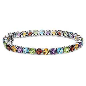 Brazalete de gemas en varios colores en plata de ley (5mm)