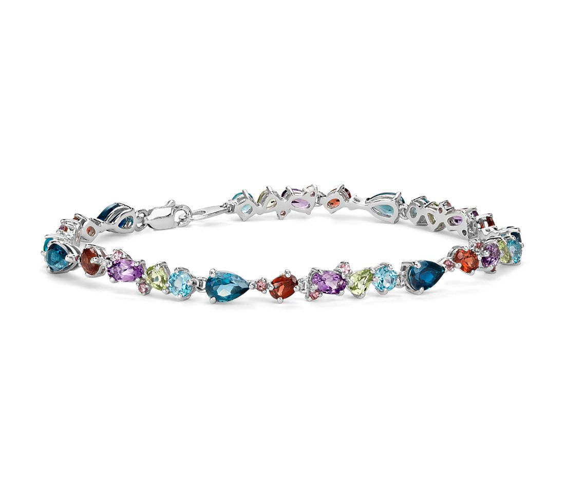 Multicolor Gemstone Bracelet In Sterling Silver 6x4mm