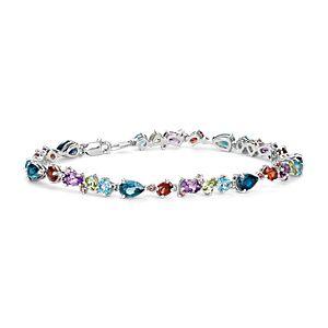 Brazalete de gemas con diversos colores en plata de ley (6x4mm)