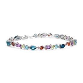 Multicolour Gemstone Bracelet in Sterling Silver (6x4mm)