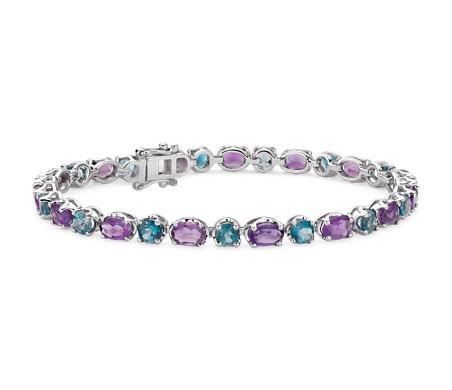 925 纯银紫水晶与蓝色托帕石手链