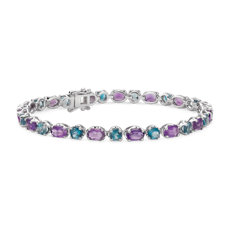 Amethyst and Blue Topaz Bracelet in Sterling Silver