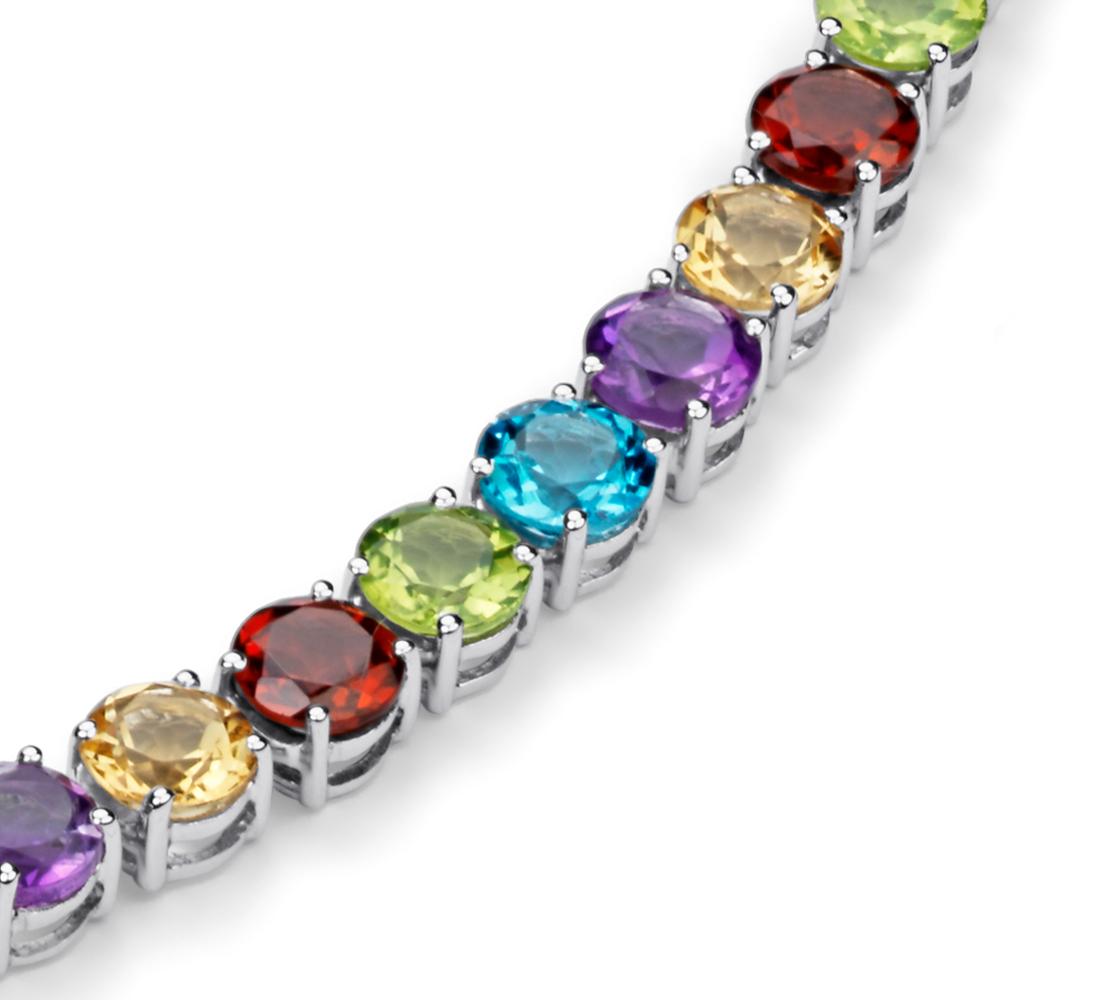 Collier de pierres gemmes multicolores en argent sterling (5mm)