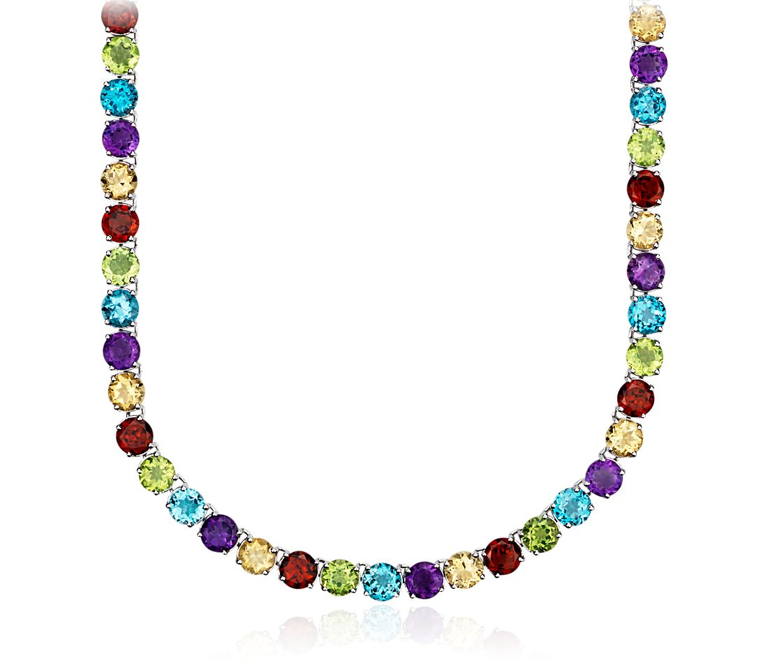 Multicolor Gemstone Eternity Necklace in Sterling Silver (5mm)