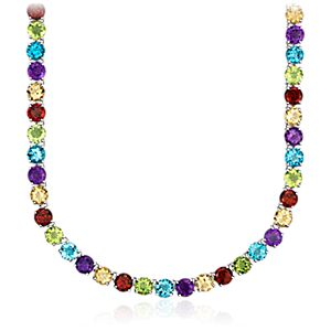 Collier de pierres gemmes multicolores en argent sterling (5 mm)