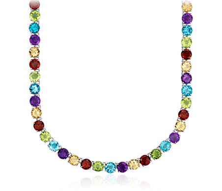 Collier d'éternité pierres gemmes multicolores en argent sterling (5 mm)