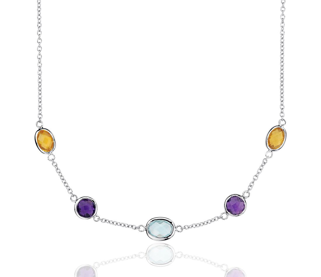 Multicolor Gemstone Stationed Necklace in Sterling Silver