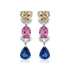 新款 18k 白金多彩藍寶石與鑽石吊墜耳環