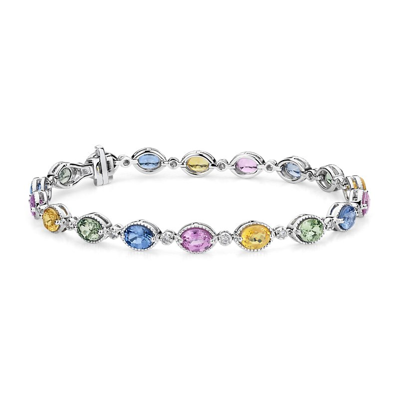 Multicolor Sapphire and Diamond Bracelet in 14k White Gold (5x4mm
