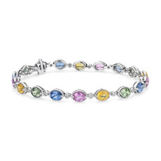 Multicolor Sapphire and Diamond Bracelet in 14k White Gold (5x4mm)